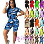 Womens Summer Tracksuit Set Top + Shorts Cycling Sports Gym Fitness Loungewear