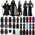 Gothic Medieval Gown Women Halloween Costume Witch Renaissance Hooded Cape Dress