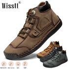 Men's Hand Stitching Leather Loafers High Top Comfort Casual Dress Ankle Boots