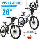 26'' Folding Electric Bike Mountain Bicycle 21Speed + EBike with 350W*Li-Battery