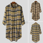 Men Long Sleeve Plaid Hippie Long Shirts Casual Loose Party High Low Tunic Tops