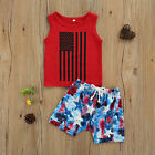NEW 4th of July American Flag Patriotic Boys Tank Tie Dye Shorts Outfit Set