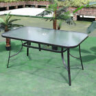 Outdoor Courtyard Garden Table Bistro 100/120/150cm Large Glass Dining Cafe Shop