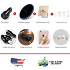 Black/White Car Charger & Stylish Wireless Phone Charger & Phone Ring Holder