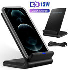 15W Qi Wireless Fast Charger Charging Stand Pad Dock For iPhone 11 12 13 Pro Max