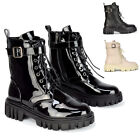 Womens Ankle Boots Ladies Lace Up Combat Flat Chunky Sole Casual Winter Booties