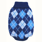 888 XS~M Blue Turtle Neck Check Sweater / Dog Clothes Sweatshirt Jacket Coat -N