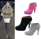 Elegant women shoes faux suede ankle high heel booties