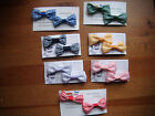 girls school gingham check hair clips/bows clasps X 2