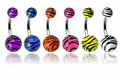 "UV TIGER PRINT BELLY ZEBRA PRINT NAVEL RING 3/8"" PICK 1"