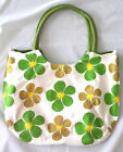 Handbag shopping Bag GREEN PINK ORANGE FLOWERs Round Handle Aquare Fabric