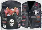Mens Black Leather Motorcycle Vest Waistcoat with 23 Biker Patches Eagle & Skull