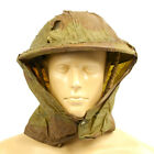Original British WWII Dated Brodie Helmet Waxed Camo Cover with Havelock