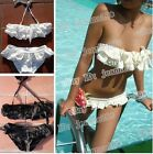 Ruffled Swimwear Swimsuit Bikini 91 White Black XS S ML