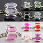 Oval Acrylic Prismatic Crystal Flower Charm European Bead Big Hole Fit DIY Chain