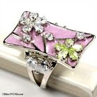 PINK FLOWER CZ RING SIZE 5.5, 7  .925 STERLING SILVER SILVERNMORE-INC F596