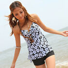 One Piece Women Push-up Halter Neck Swimwear Black Floral Tankini Swim Dress