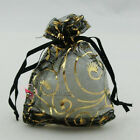 Gold Bine Black Organza Wedding Favour Gift Bags Pouches 7x9,9x12,13x17cm
