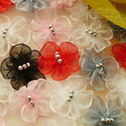 Mixed Organza Floral With 3 Bead 25mm Sewing Scrapbooking Appliques JM3B