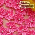 Hot Pink Polyester Ribbons Floral With Bead Sewing Scrapbooking Appliques JM9B