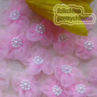 Pink Soft Organza Flower With Cluster Beads Sewing Scrapbooking Appliques JM9O