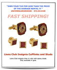 RUBY RED LIONS Club Insignia Gold Inlay Tuxedo Cufflinks Stud Set NEW #JWM104