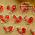 Red Gingham Heart Felt Appliques Padded Craft Sewing Scrapbooking Trim APQA