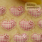 Pink Gingham Heart Lace Appliques Padded Craft Sewing Scrapbooking Trim APQB
