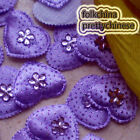 Purple Heart Rhinestone Appliques Padded Craft Sewing Scrapbooking Trim APQK