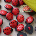 Red/Black Ladybird 13mm Plastic Buttons Sewing Scrapbooking Collectable Craft
