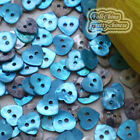 Blue Heart 10mm Mother Of Shell Buttons Sewing Scrapbooking Beads Craft MOPH