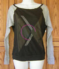 Roxy Geometric Design Gray Long Sleeve Scoop Neck Black Raglan Slouchy T Shirt