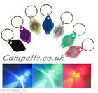 Twin pack Mini Bright Multicoloured Flashing LED Keyring Torch, Batteries fitted