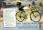 Vintage Old Transport Poster BSA Triple Star Bicycle Print A4 A3 A2 A1