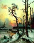 Winter Landscpae River Houses Picture Reproduction Art Print Canvas A4 A3 A2 A1
