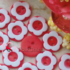 Red 2 Holes 12mm Flower Plastic Buttons Sewing Craft Scrapbooking PCB-A05