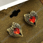 Hot Retro Bronze Red Crystal Heart Love Wing Stud Earrings