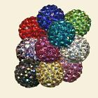 SUPERB QUALITY 10mm CRYSTAL SHAMBALLA PAVE BEADS - 10 COLOURS - Red, Blue, Gold