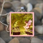 VINTAGE FROG FAIRY FRIENDS FAIRY TALE BOOK GLASS TILE PENDANT NECKLACE KEYRING