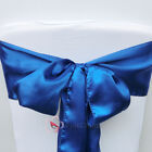 Navy Blue Satin Chair Cover Bow Sash Wedding Party Decor Banquet WED-SCS-82