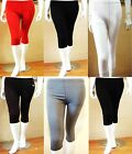 2 PAIR MULTIPACK COTTON LYCRA 3/4 UNDER KNEE STRETCHY SOFT CASUAL/SPORT LEGGINGS