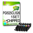 1 FULL SET NON-OEM Ink Cartridges REPLACE for PGI-525 CLI-526