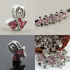 TIBETAN SILVER AUSTRIAN CRYSTAL PINK RIBBON BREAST CANCER AWARENESS CHARM BEADS