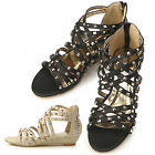 New Low Heels Stud Gladiator Womens Summer Sandle Shoes Multi Colored