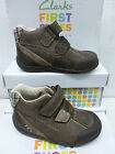 """SALE:Clarks Boys First Brown Leather  Boots """"SOFTLY HI FST"""" F-Fitting"""
