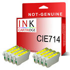 8PK Yellow NON-OEM T0714 Ink Cartridges Replace For Stylus Printers
