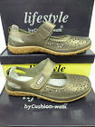 "Ladies Cushion Walk Pewter Leather Velcro Casuals ""Burnley"""