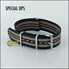 G10 NATO Watch Strap ★ SPECIAL OPS 20mm Black with Grey and Orange stripes