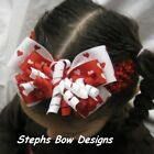 RED WHITE VALENTINES DAY HEARTS LAYERED KORKER HAIR BOW CROCHET HEADBAND or CLIP