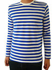 Mens Stripey t-shirt tee Blue White nautical indie mod Top striped preppy 60's